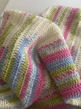 Pink Hand Crochet Blanket