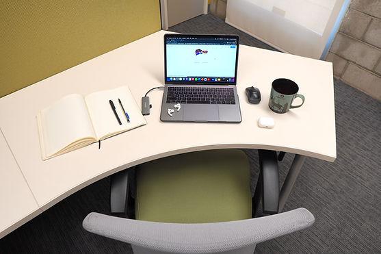 Work desk setup with laptop