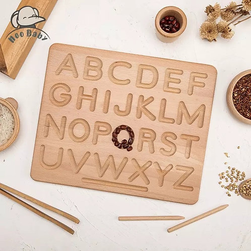 Wooden Montessori Alphanumeric Board (Double Sided)