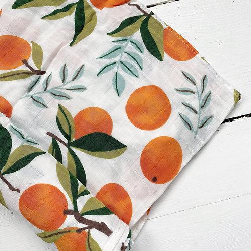 Orange Tree Muslin Swaddle