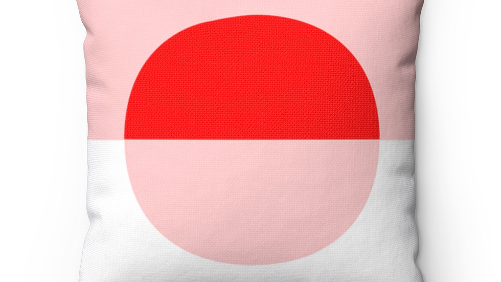 Meridian Throw Pillow - Two Tone Color Block (Red/Pink with Pink Background)