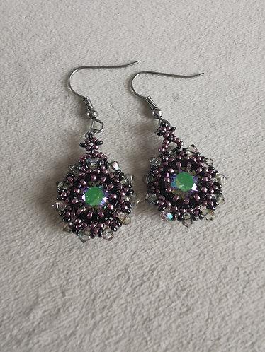 Sunny side up earrings (purple iris, metallic plum, paradise shine)