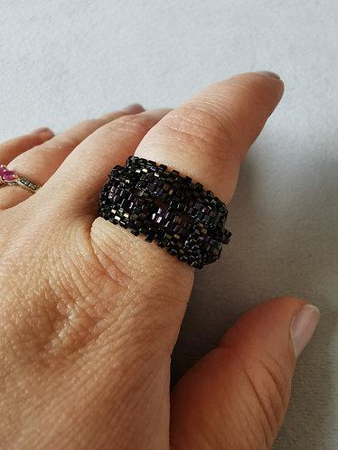 Basket weave ring (Brown Iris and Purple Iris)