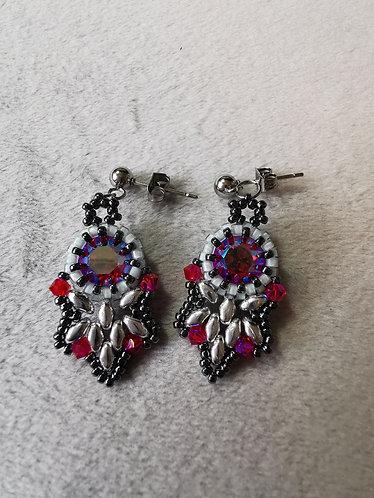 Flutter earrings (Silver, hematite and glacier blue fuschia)
