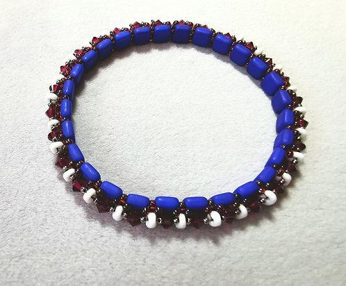 Festival of lights bracelet (Matte blue, garnet and white)