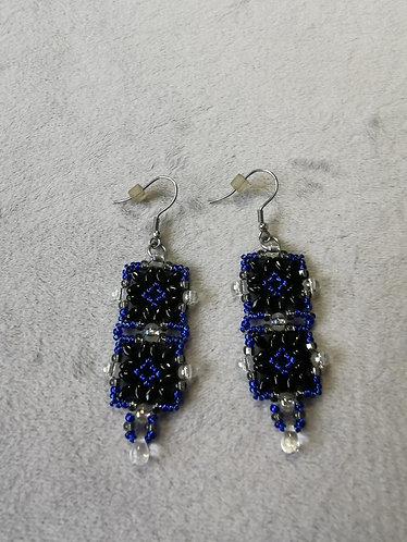 Tunisian Tiles earrings (Blue and black)