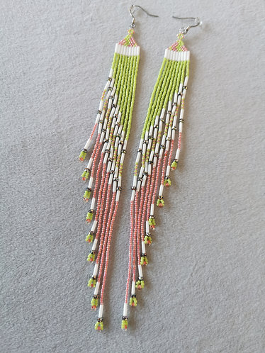 Spring shoulder duster earrings (green, white and pink)