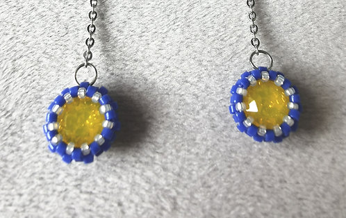Dangling simplicity earrings (Blue and yellow)