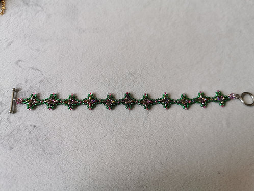 Marrakech bracelet (Silver-line emerald green and Pink-lined crystal)