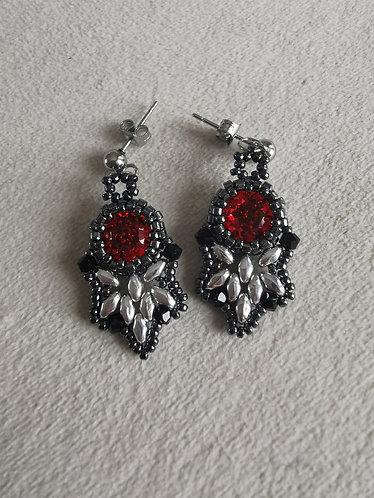 Flutter earrings (Red, silver, gunmetal and black)