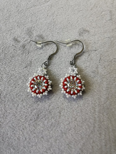 Sunshine earrings (Matte red and white)