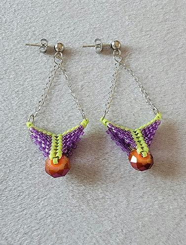 Arrowhead earrings (purple, green, orange)