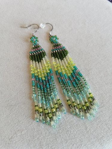 Bead mix fringe (multi coloured green)