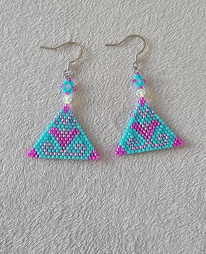 Bloom earrings (turquoise, purple, fuschia)