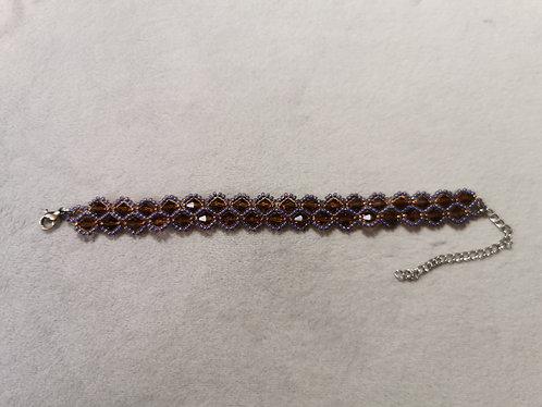 Crystal drop bracelet (Smokey topaz and purple)