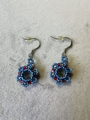 Tiny Tammy earrings (Blue, pink and gray)