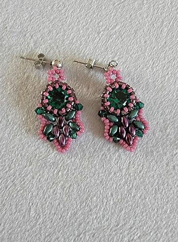 Flutter earrings (antique pink, emerald green)