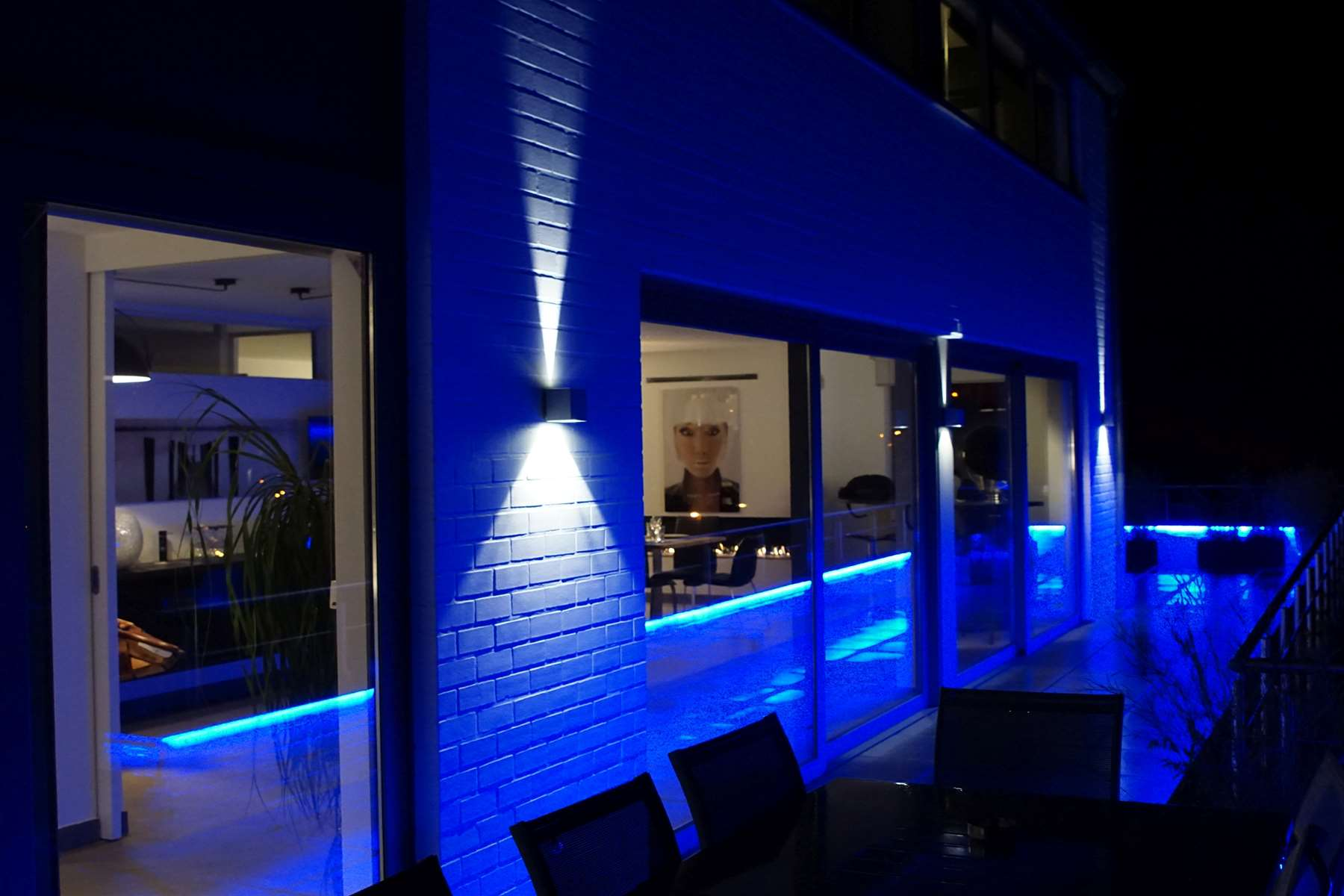 Terrasse éclairage d'ambiance soirée