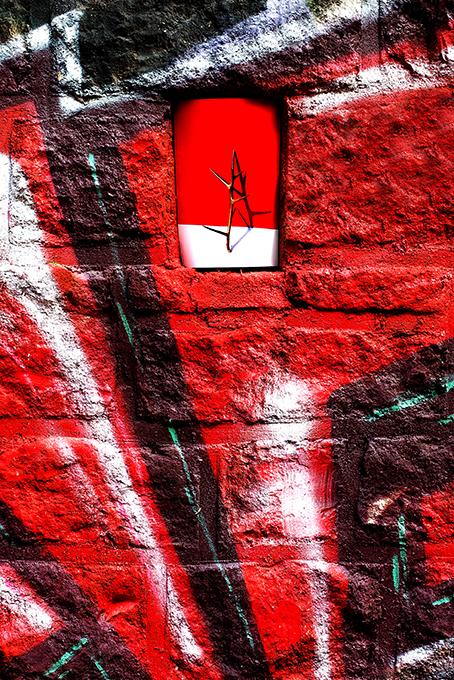 Epine d'acacia sur mur tagué