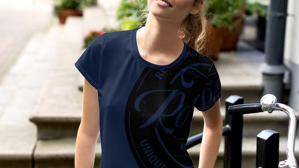 RoThug Women's All-Over Print Crop Tee-Navy Blue