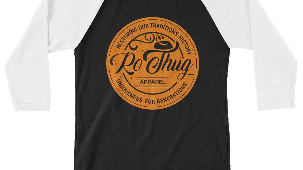 RoThug 3/4 sleeve raglan shirt-White/Black/Orange