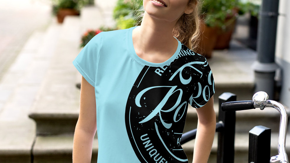 RoThug Women's All-Over Print Crop Tee-Powder Blue
