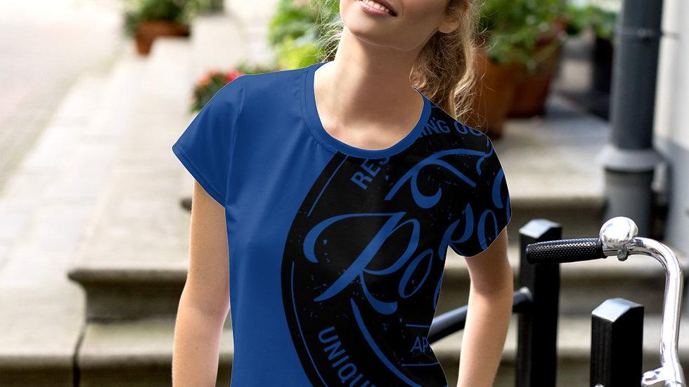 RoThug Women's All-Over Print Crop Tee-Royal Blue