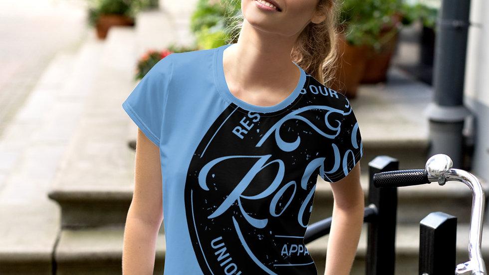 RoThug Women's All-Over Print Crop Tee-Light Blue