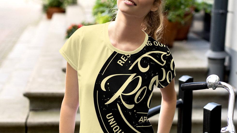 RoThug Women's All-Over Print Crop Tee-Yellow