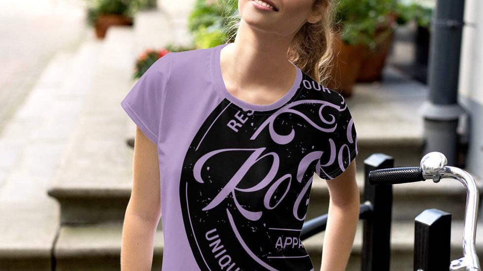 RoThug Women's All-Over Print Crop Tee-Purple