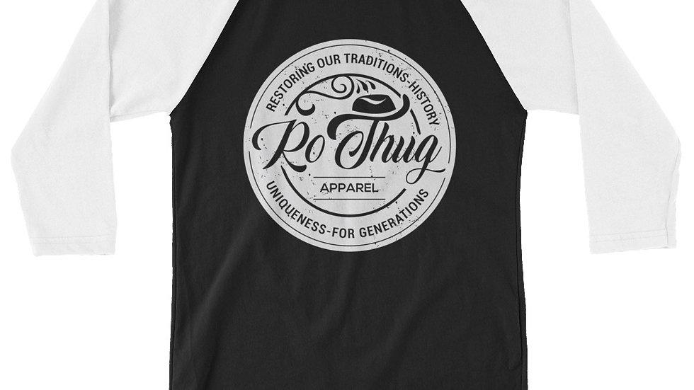 RoThug 3/4 sleeve raglan shirt-White/Black