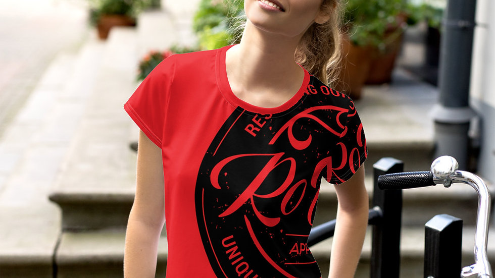 RoThug Women's All-Over Print Crop Tee-Red