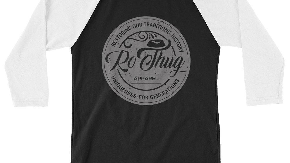 RoThug 3/4 sleeve raglan shirt-White/Black/Grey