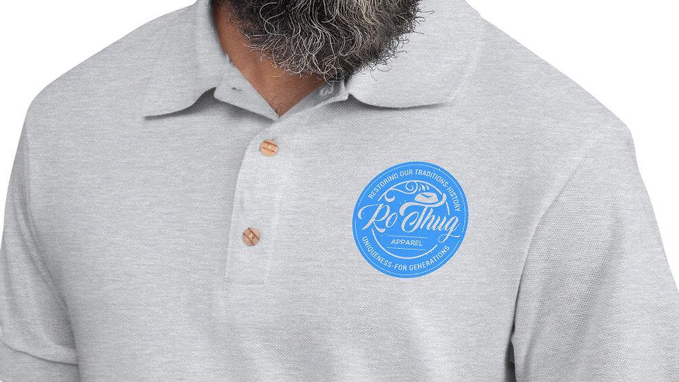 RoThug Embroidered Polo Shirt-Blue Logo