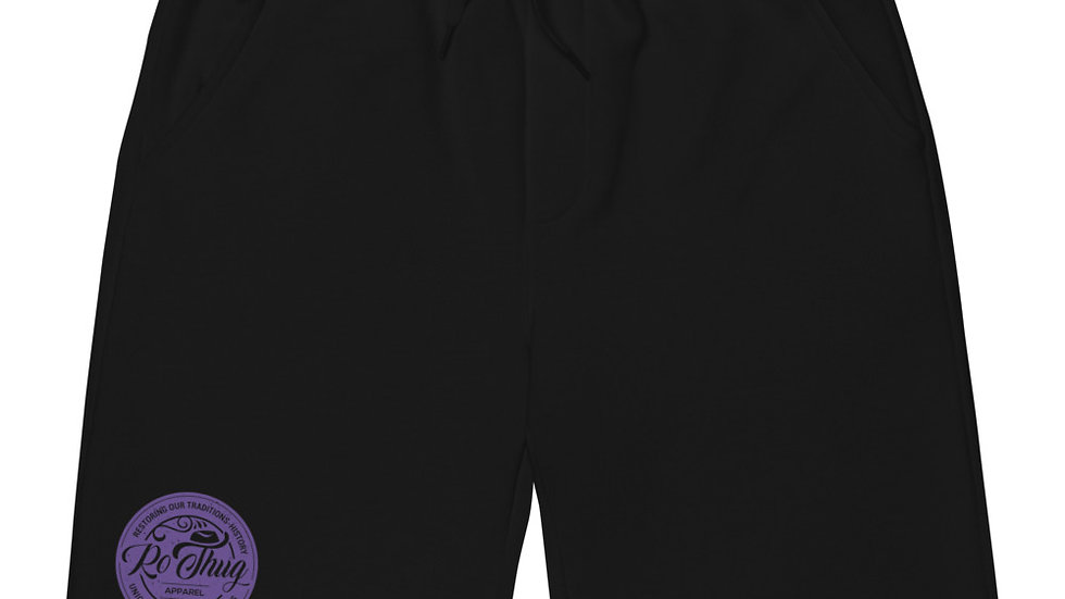 RoThug Men's fleece shorts-Purple Logo