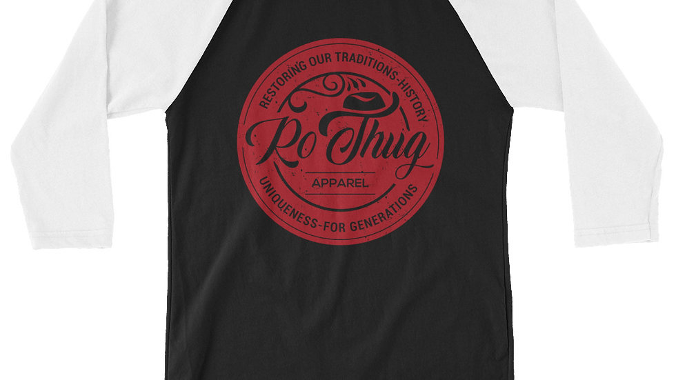 RoThug 3/4 sleeve raglan shirt-White/Black/Red