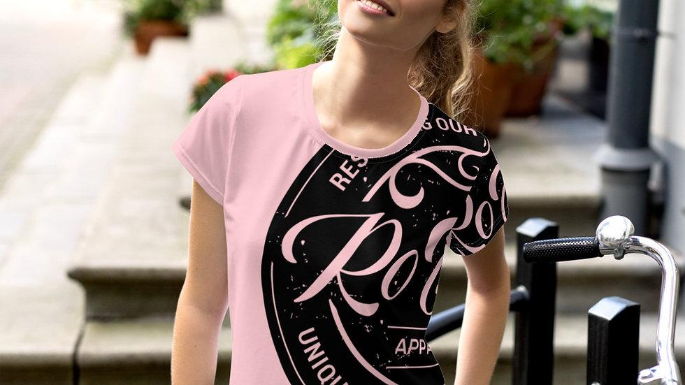 RoThug Women's All-Over Print Crop Tee-Pink
