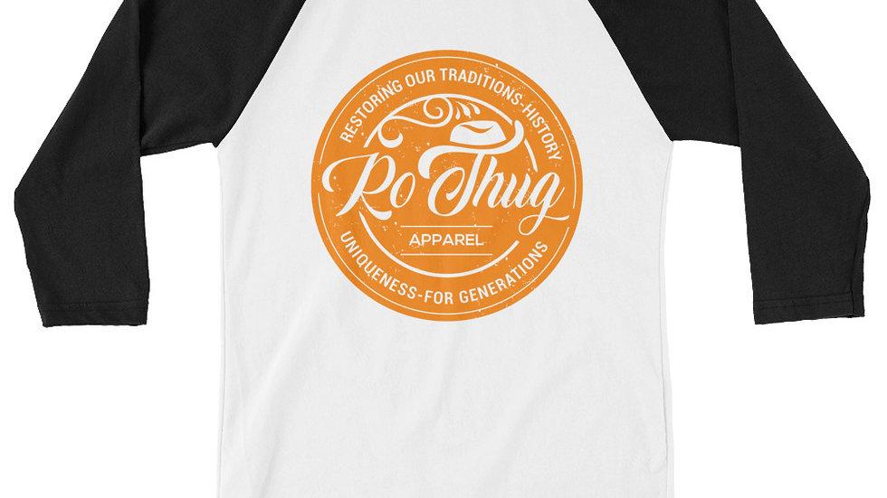 RoThug 3/4 sleeve raglan shirt-Black/White/Orange
