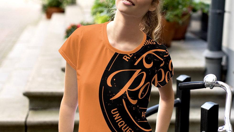 RoThug Women's All-Over Print Crop Tee-Orange