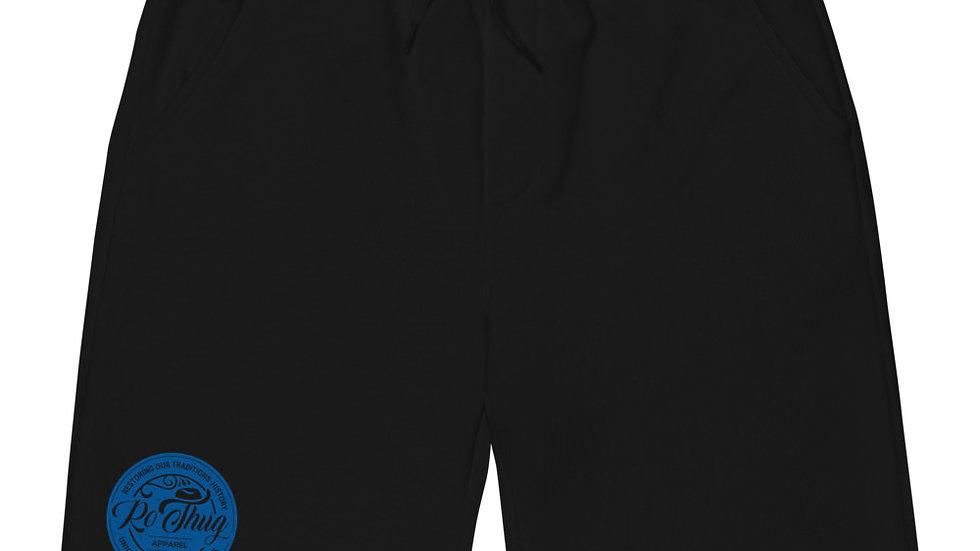 RoThug Men's fleece shorts-Royal Blue Logo