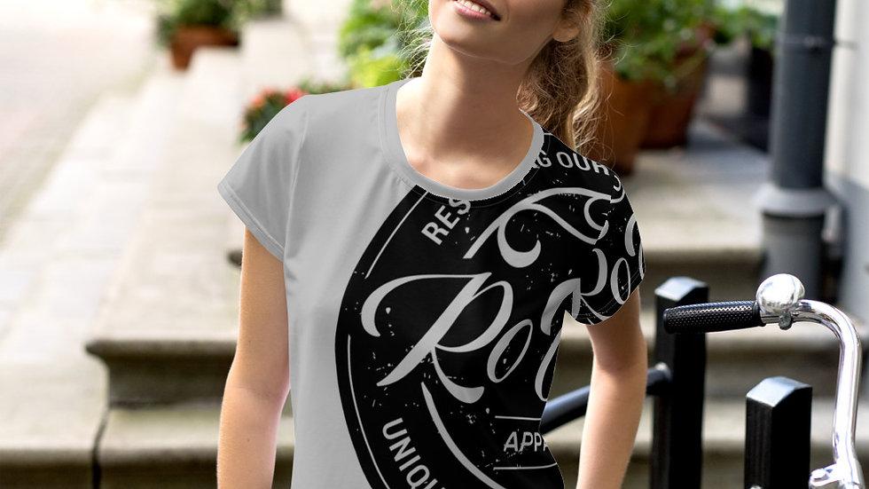 RoThug Women's All-Over Print Crop Tee-Grey