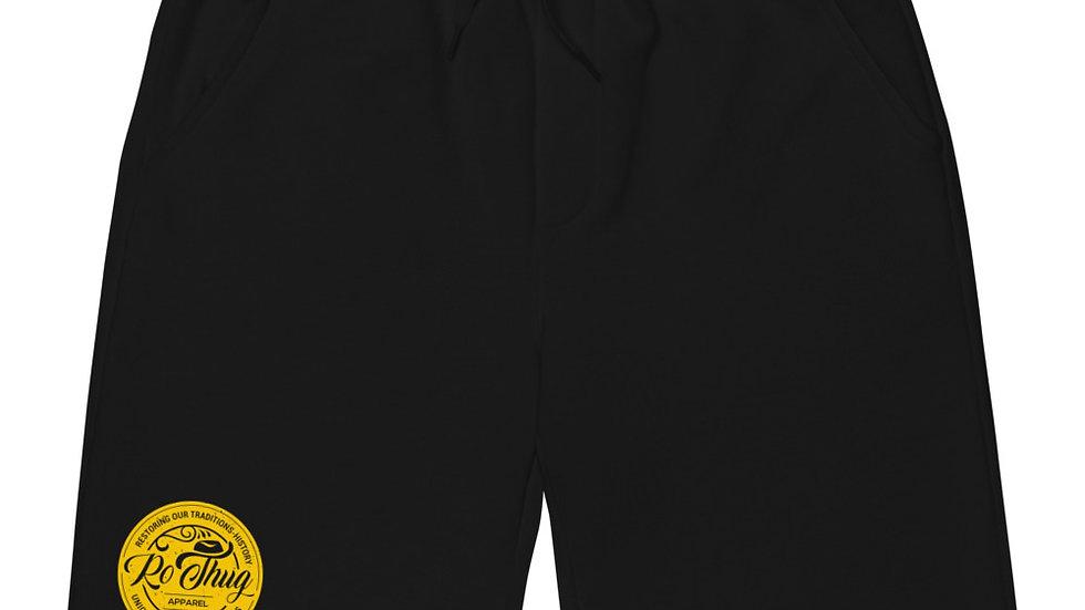 RoThug Men's fleece shorts-Yellow Logo copy