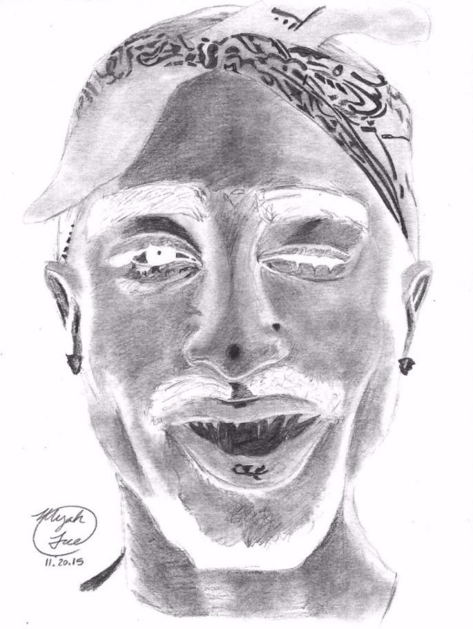 """Inverted Tupac"" 2015 (original drawing)"