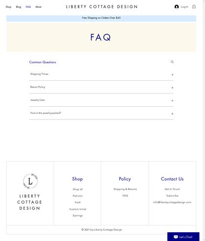 Liberty Cottage Design - FAQ Page