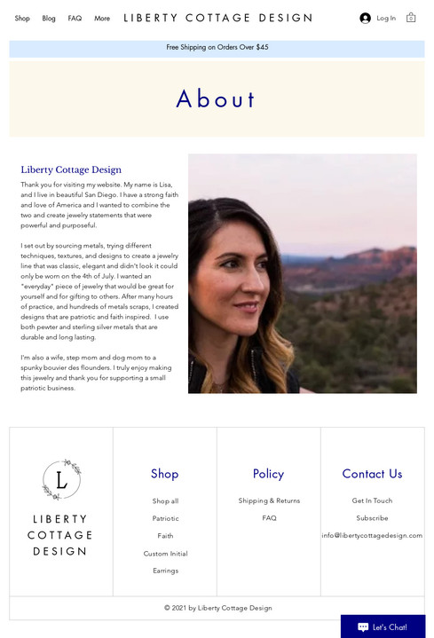 Liberty Cottage Design - About Page