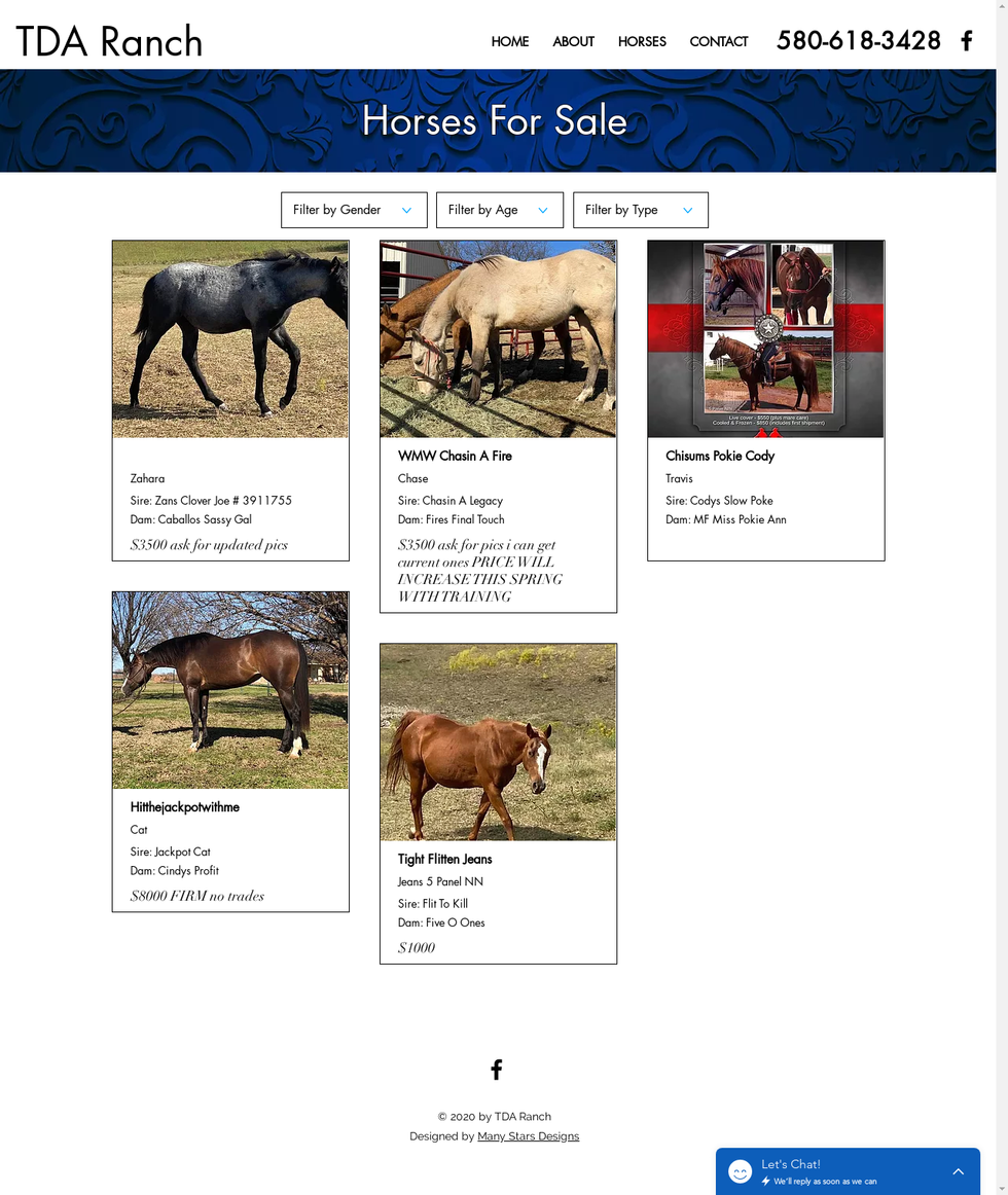 TDA Ranch - Horses for Sale