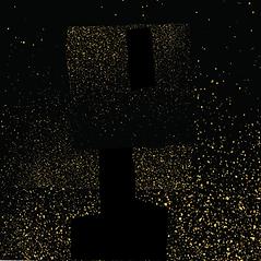 Ned Kelly silkscreen print in gold dust by artist Peter Bainbridge.