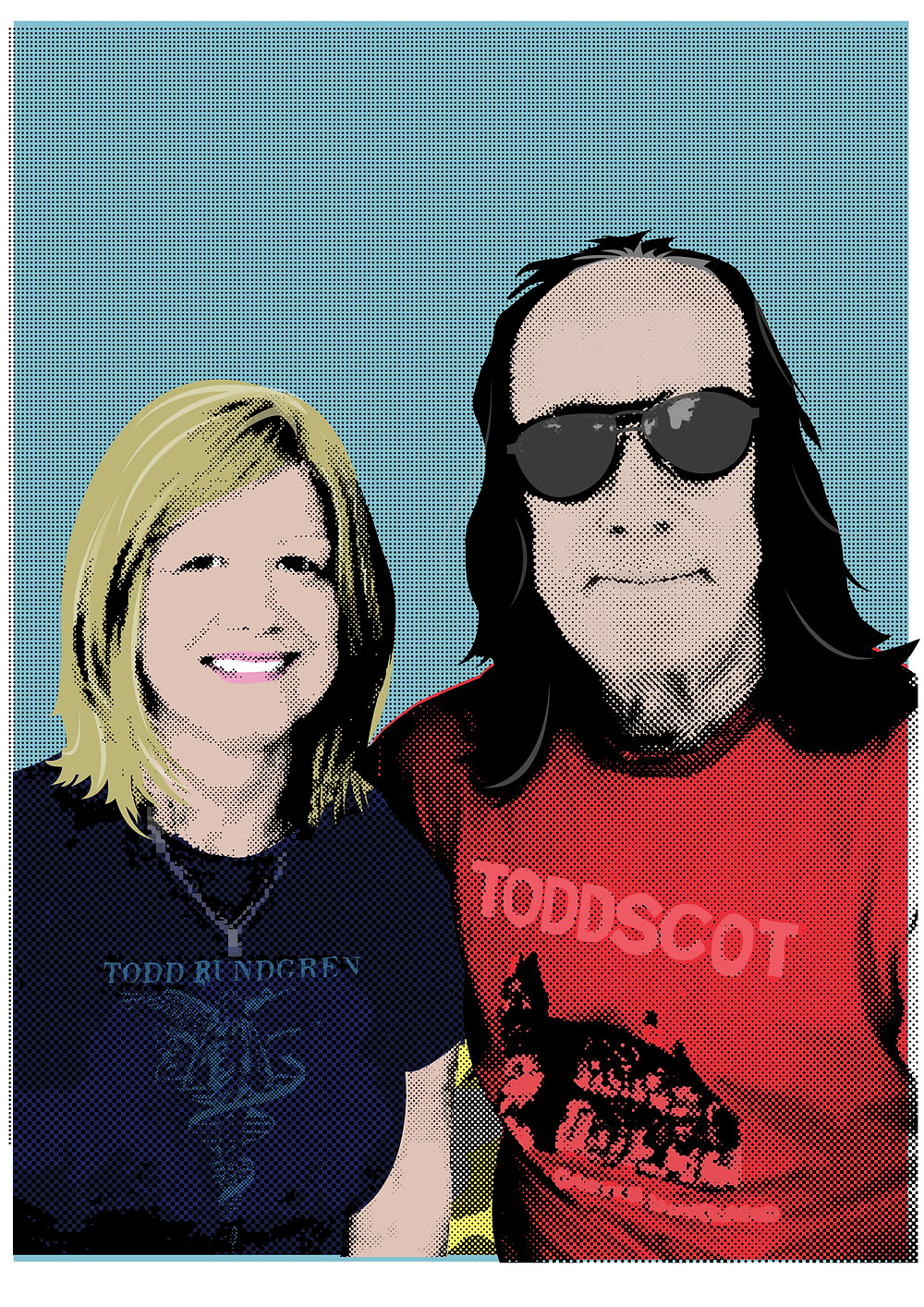 Delighted to be commissioned by Bev Rigby to create this image of her and the ledge Todd Rundgren. Provide me with a good quality photo of you and your favourite 70's rocker, and this could be you.