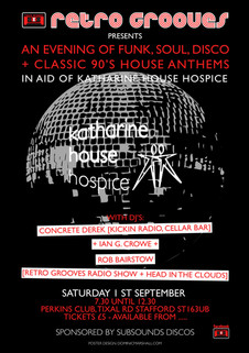 retro grooves charity poster