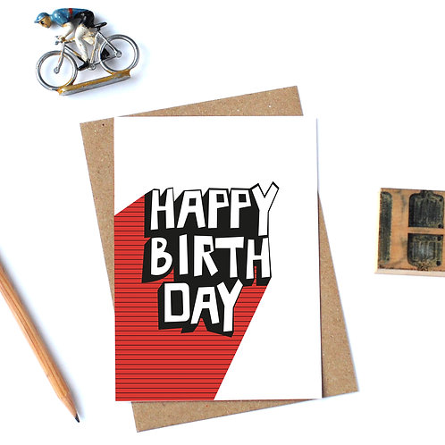 Individual Card (Stripey) - Happy Birthday